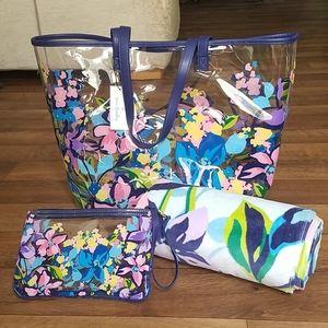 Vera Bradley 3pc Beach Bundle Tote Marian Floral